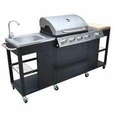 vidaXL Missouri 66 x 46.5 cm Barbecue a Gas con 4 Bruciatori e Zona Cottura - Nero