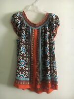 NICOLE MILLER TEAL ORANGE BROWN FLORAL OFFSHOULDER WOMEN TOP BLOUSE SZ L STYLISH