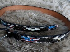 USA Flag & Eagle handmade Tex/Mex men's belt, brown, size 38, new cond. #Dtop6