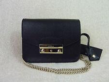 NWT FURLA Onyx Black Saffiano Leather Baby Julia Chain Shoulder Bag - $298
