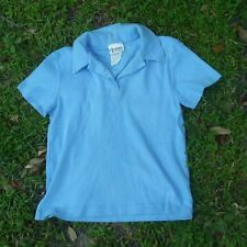 Vintage 80s Ladies Light Baby Blue Collar Shirt Chazzz by Charles Ghailian Sz Xl