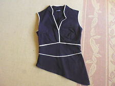 LADIES SEXY BLACK WITH BROWN TRIM SLANT SLEEVELESS TOP BY LADAKH- SIZE 8 - CHEAP