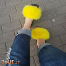 Women's Real Fox Fur Slides Sliders Beach Summer Slippers Sandals Casual Shoes