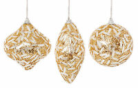 3 x Beautiful Ivory Christmas Tree Baubles with Gold Glitter detail Decoration