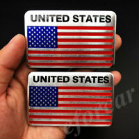 2pcs USA American United States Flag Car Motorcyle Decal Sticker Badge Emblem