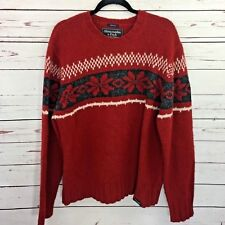 Abercrombie & Fitch XL Men Sweater Snowflake Red Holiday Christmas Wool Muscle