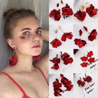Fashion Red Acrylic Petal Tassel Earrings Flower Statement Drop Dangle Ear Stud