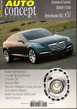 REVUE MAGAZINE AUTO CONCEPT N°57 10/11 2003 HONDA ACCORD CITROEN C2 MAZDA RX8