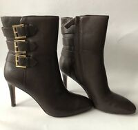Ladies Women Leather New High Heel Gold Buckle Detail Boot In Brown Size 6 UK