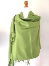 Pashmina Wrap Shawl Lime Green Ladies Large Plain Scarf Fair Trade Hand Woven