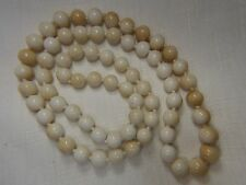 "Vintage White Cream Jade hand knotted 10mm bead slip over 32"" Necklace"