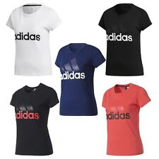 adidas ESSENTIALS LINEAR T SHIRT WOMEN'S  BLACK WHITE NAVY PINK GYM RUNNING NEW