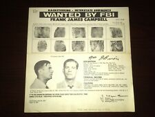 "RARE 1962 FRANK ""MACHINE GUN"" CAMPBELL MAFIA PISTOL LOCAL 824 FBI WANTED POSTER"