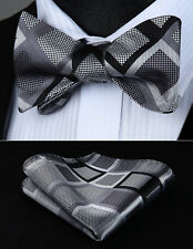 Bow Tie handkerchief set BC908AS Gray Black Check Bowtie Men Silk  Self