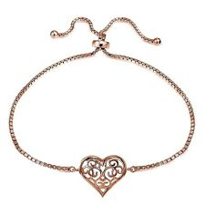Rose Gold Tone over Sterling Silver Filigree Heart Polished Adjustable Barcelet