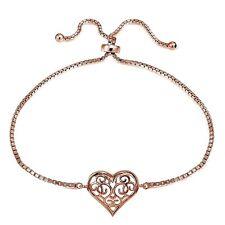 Rose Gold Tone over Sterling Silver Filigree Heart Polished Adjustable Barcelet
