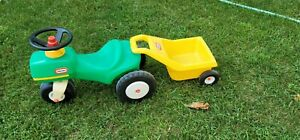 Rare Vintage Little tikes Child Size Green Tractor Yellow Trailer Ride on