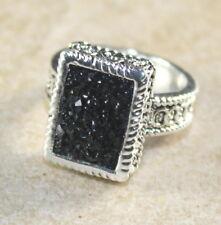 SILVER Vintage Style Black Titanium Druzy 10x14mm Ring Size 8.75