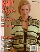 Knit n Style August 2005 Halter Entrelac Tee Top Socks Machine Knitting Patterns