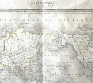 MAPPE MONDE projection Mercator circa 1820 Gravure Thierry 43x60cm