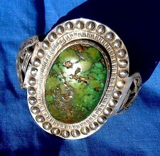GORGEOUS OLD PAWN NAVAJO CUFF WITH SUPERB HUGE GREEN OVAL TURQUOISE Ca. 1930s