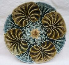 """Antique Large Ø 10"""" Oyster Plate Majolica Wasmuel Belgium 1890"""