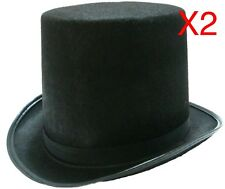 2 BLACK TOP HAT COSTUME MAGICIAN WEDDINGS ADULT DANCE MAD HATTER PARTY FORMAL