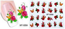 ROSE & farfalla 3d Nail Art Sticker Decal acqua trasferimento Manicure Decorazione