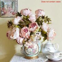 13 Heads Vintage Artificial Peony Silk Flowers, Dahila Pink Bunch Rose & A0S3