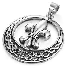 Mendino Men's Stainless Steel Pendant Necklace Celtic Knot Circle Fleur De Lis
