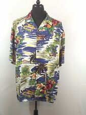 Hilo Hattie Hawaiian Aloha Camp Shirt XL Tropical Scene Palm Trees Huts Hibiscus