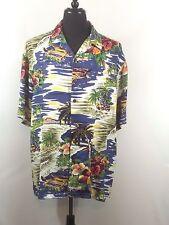 Hilo Hattie Hawaiian Aloha Camp Shirt XL Tropical Scene Palm Trees Huts Hibiscus