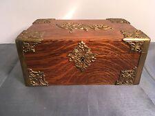 Antique CIGAR Humidor Tiger Oak Box Art Nouveau Trim Circa 1890 Stamped