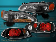 98-00 TOYOTA COROLLA HEADLIGHTS W/ CORNER LIGHTS + TAIL LIGHTS BLACK