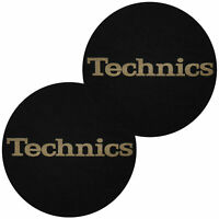 Coppia Feltri Panni Antistatici per Giradischi Slipmats Technics Black Logo Gold