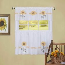 sunflower tier & swag set complete kitchen curtain sun blossom