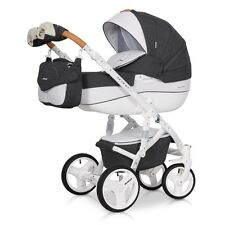 RIKO BRANO LUXE ANTHRACITE PRAM 3in1 CARRYCOT + PUSH CHAIR + CAR SEAT