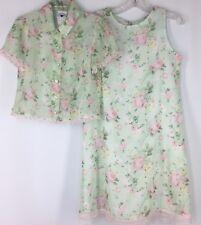 Girl's Dress HARTSTRINGS Sleeveless PINK ROSES APPLE GREEN Sheer Shift Easter 8