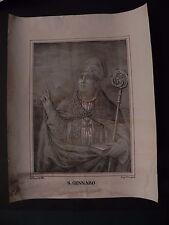 M San Gennaro Vescovo Napoli Ianuarius litografia originale 1850 Apicella