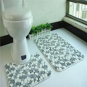 Soft 2pcs Floor Rug Carpet Bath Pedestal Mat Bathroom Shower Toilet Non slip  ZC