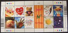 2003 Singapore Greetings Stamps Sheet Of 10 Cat Bear Ostrich Hearts Flower Bird