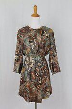 Holding Horses Anthropologie Brown Multi Paisley Tunic Shirtdress Dress 2 XS