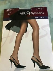 Hanes Silk Reflections 717 Silky Control Top Pantyhose - Style 717 A B Jet.
