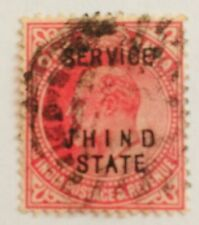 JHIND INDIAN STATE 1903 EDWARD VII  ONE ANNA OVERPRINT OLD STAMP 02150819
