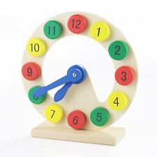 Quality Wooden Clock Pre-Kindergarten Time Learning Toy, Toddlers / preschoolers