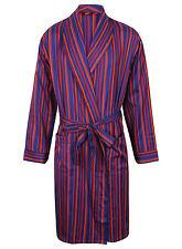 Men's Lightweight Cotton Dressing Gown, Blue & Purple Stripes (sizes available)
