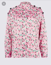 M&S COLLECTION *Curves*Floral Print Button Detail Blouse Satin Long Sleeve Pink