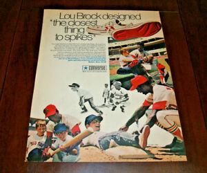 Print AD Advertisement Art 1960s Lou Brock St Louis Cardinals Converse Sneakers