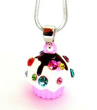 New Silver Tone Pink Enamel Crystal Cupcake Charm Pendant Necklace in Gift Box