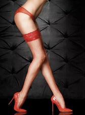 Ann Summers Red Lace Top Fishnet Hold Ups Size Large X-large  L/XL